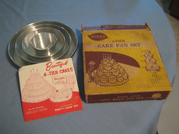vintage mirro 4 tier cake pan set by eclecticpaperpenguin on etsy