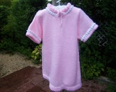 pink knitted dress, little girl dress, pink and white hand made baby dress