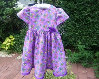 couture dress purple and butterfly, girl dress, butterfly on purple