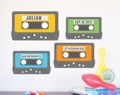 Wall Decal, Mixed Tape Stats, Nursery Birth Announcement, Play Room Decor for kids, Typography, Vintage Art