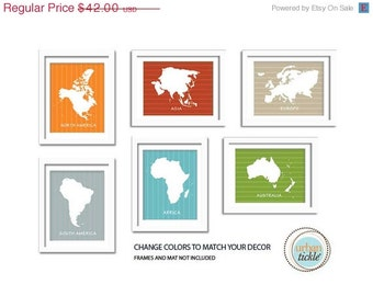 Continents Art Prints, Worldly Wise, Set of Six, 5X7 Inches, Playroom decor, Baby Gift, Nursery Decor
