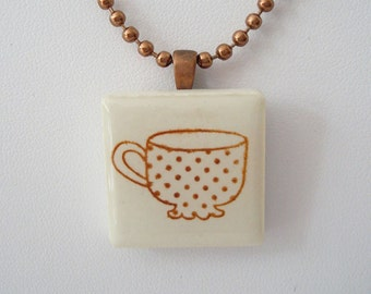 Coffee Cup Necklace Tea Cup Pendant Rubber Stamped Porcelain Tile Pendant
