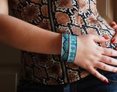 Light Blue Snake Skin Adjustable Cuffs