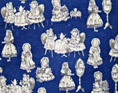 Fabric destash, cotton fabric, navy blue fabric, tea party fabric, quilting fabric, fabric remnant