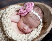 Skinny White Lace headband with Large Rose Pink Crochet Flower and Button - Baby Toddler Children
