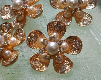 """Gold Metal Buttons with  Pearl and Rhinestone , 22 mm. Flower Shaped, Flat Back.10 Pieces. """" Kitty G"""""""