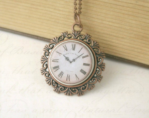 Elegant Vintage Style Clock Face Necklace,Polymer Clay, copper plated pendant setting