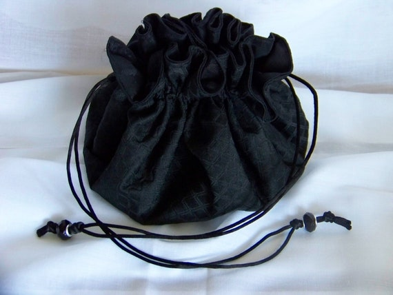 Black evening bag with drawstring cosmetic bag jewelry for Drawstring jewelry bag pattern