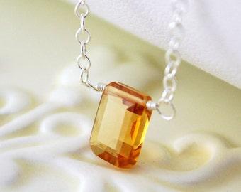 Genuine Dark Citrine Necklace, Child Children Girl, Sterling Silver, Deep Gold, Emerald Cut Gemstone, November Birthstone Jewelry