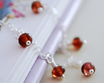 Child's Garnet Necklace, Sterling Silver Jewelry, Children Little Girl, Genuine Red Gemstone, January Birthstone
