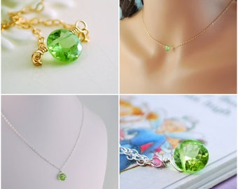 Mother Daughter Jewelry Necklace Set Genuine Peridot Gemstone August Birthstone Sterling Silver and Gold Your Choice