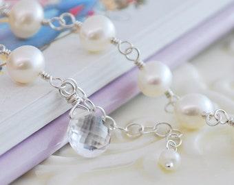 Freshwater Pearl Bracelet, Child Children Girl Kid, Genuine AAA Crystal Quartz Gemstone, April Birthstone, Sterling Silver Jewelry