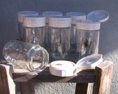 6 Glass Jars w/plastic lids Upcycled.