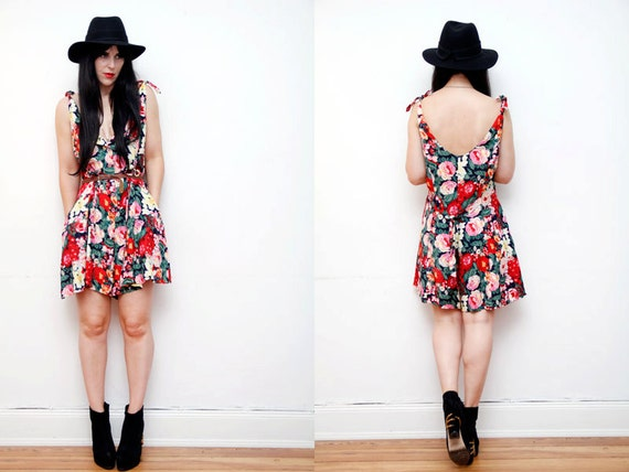 SALE Vintage Floral Play Suit Romper All in One Dress 1990s