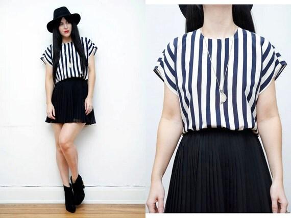 Stripe Nautical French Shirt Blouse
