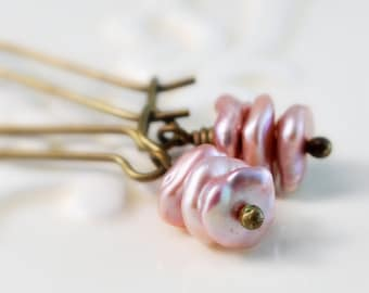 Earrings Antiqued Brass, Soft Rose Pink, Genuine Freshwater Keishi Pearl, Woodland, Kidney Earwires, Wire Wrapped Jewelry, Free Shipping
