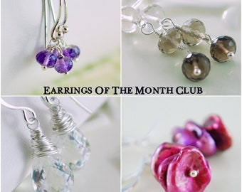 Earrings of the Month Club Six Month Subscription Sterling Silver Gold Gemstone Pearl Jewelry Complimentary Shipping