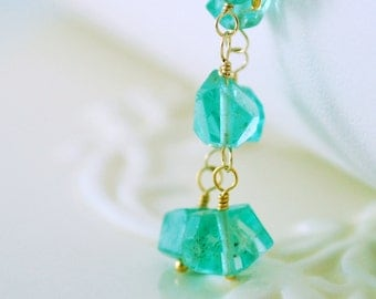 Apatite Dangle Earrings Blue Sea Green Aqua Semiprecious Gemstone Gold Filled Vermeil Jewelry Complimentary Shipping