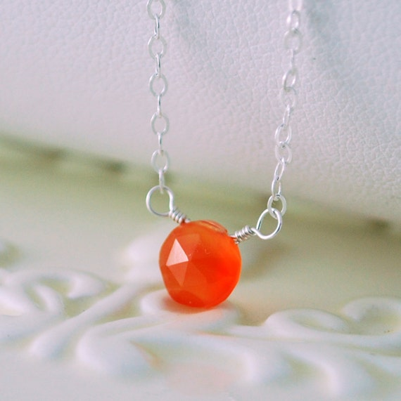 Orange Carnelian Choker Gemstone Necklace Simple Semiprecious Stone Minimalist Sterling Silver Jewelry Complimentary Shipping