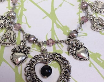 Purple crystal and Pearl Hearts  Recycled /Upcycled Charm Bracelet