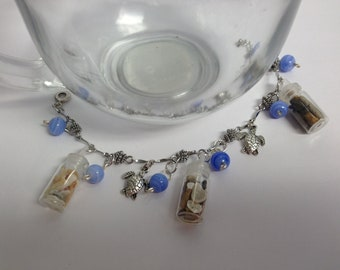 Seaturtle and 3 Tiny Bottle of Shells Charm Bracelet 1