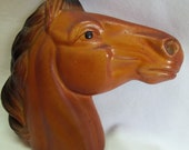 Vintage Chalkware Horse Head Wall Hanging