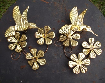 Vintage Pair of Metal Hummingbird and Flowers Wall Art Hanging Hollywood Regency