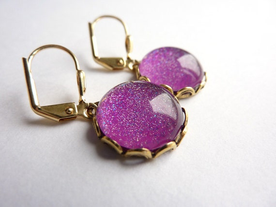 Pink Purple Glitter Earrings, Gold Plated Earrings