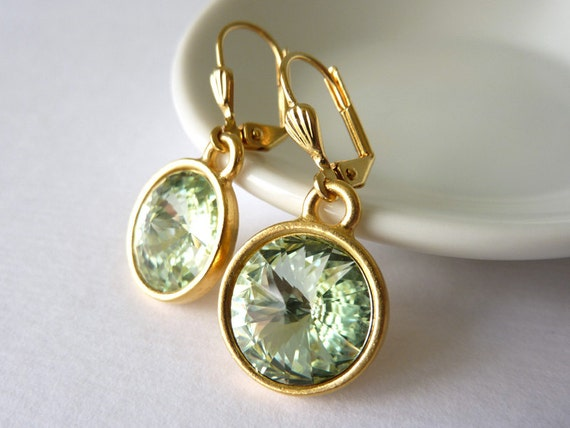 Green Crystal Earrings, Rivoli Crystal, Leverback Earrings