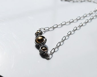 Three Sterling Silver Bali Dots Necklace