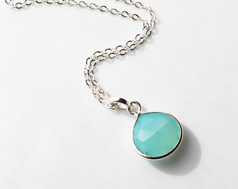 Aqua Chalcedony, Sterling Silver Necklace