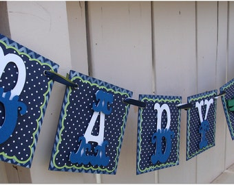 Handmade Banner - Custom made - GO GREEN - Name Banner Happy Birthday Baby Shower Trains