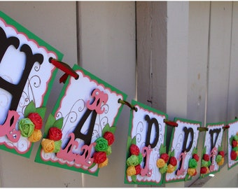 Happy Birthday Banner - Handmade Banner - Custom Made - GO GREEN Whale Themed Banner