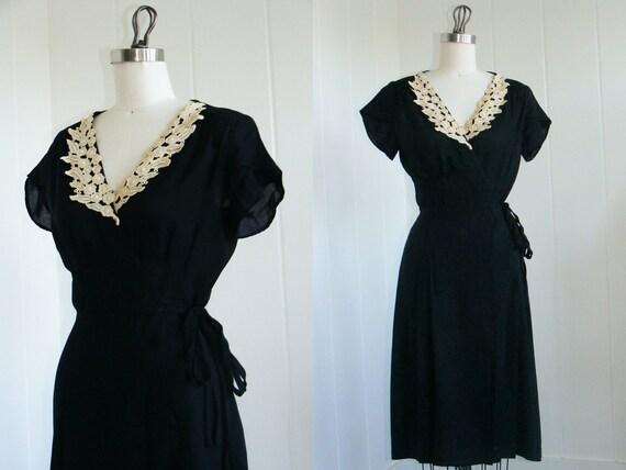 1980's Little Black Wrap Dress with Cream Floral Applique