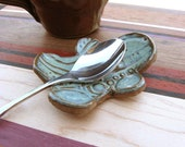 Spoon Rest Gingerbread Man Personal Sized Textured Teal Green