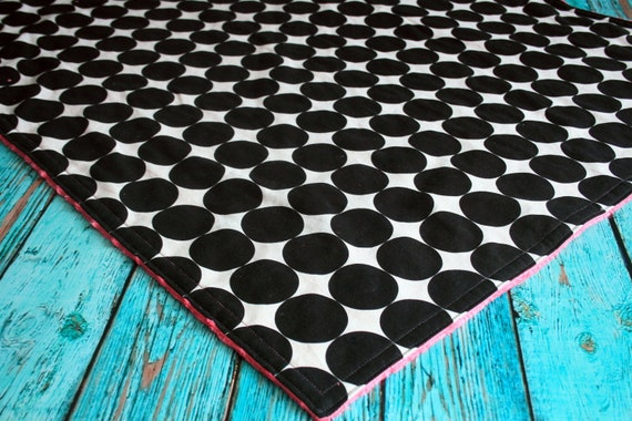 Minky Baby Blanket - Disco Dot in Ink - Personalization Options Available
