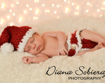 Newborn Baby Christmas Diaper Cover and Santa Hat Photo Prop Set - Red with Fluffy White Trim