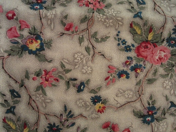 Antique FRENCH FABRIC ramage of Flowers & picotage