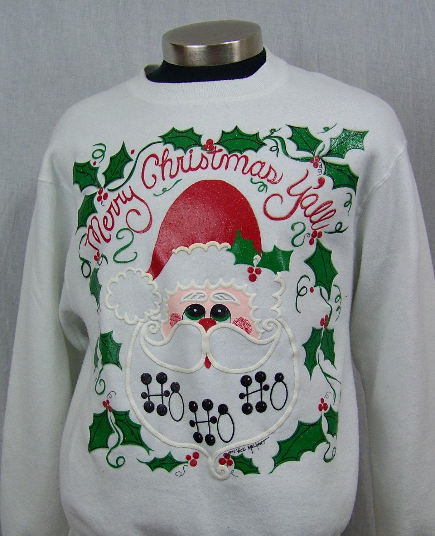 Vintage Ugly Christmas Sweater Sweatshirt Merry Christmas