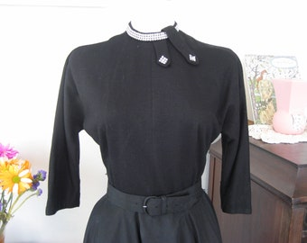 Black Knit and Tafetta Party Dress