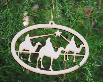 Natural Wood Wise Men Ornament