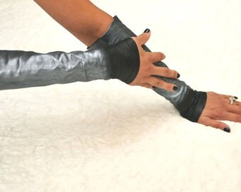 Sexy Fingerless Leather Gloves =  Black Gloves - Leather gloves - known as  -Kittys-