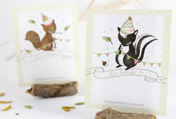 12 Bookplates - Squirrel & Skunk