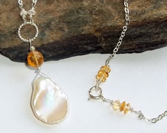 Petal Pearl Golden Citrine Gemstone Energy Necklace Sterling Silver White earthegy Gold