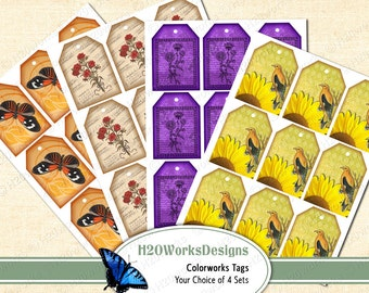 Digital Tags (Your CHOICE of Sheets - Your CHOICE of Orange, Red, Purple or Yellow) Color Works, Butterfly, Bird, Flowers