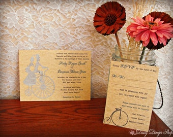 Wedding Invitation - Tandem Bicycle Couple Cutout on Parchment and Vintage Newspaper Cardstock - Invitation and RSVP Card with Envelopes