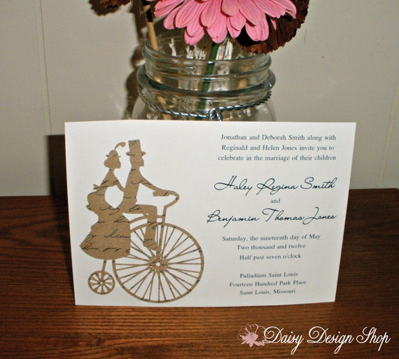 Wedding Invitation Tandem Bicycle Couple By DaisyDesignShop