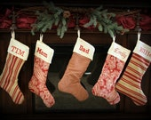 Reserved for Cindy- Set of 6 Christmas Stockings- 21 inch