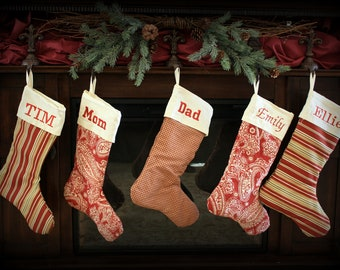 Set of 5 Red Monogrammed Christmas Stockings- 21 inch