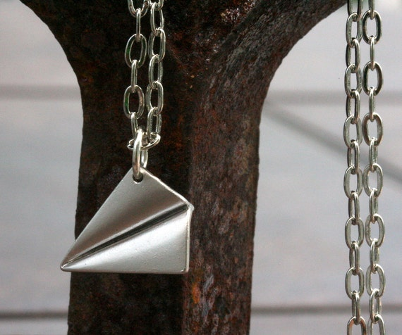One Direction Paper Airplane Necklace Harry Styles Paper Airplane Charm One Direction